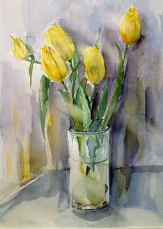 Fikret Tunalı Pen And Watercolor, Watercolor Artists, Watercolor Flowers, Watercolor Paintings, Acrylic Flowers, Guache, Pictures To Paint, Flower Art, Painting & Drawing