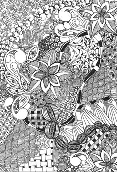 bristol in micron pen Cool Designs To Draw, Doodle Designs, Doodles Zentangles, Zentangle Patterns, Zen Doodle, Doodle Art, Art Optical, Printable Adult Coloring Pages, Tangle Art