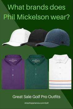 What brands does Phil Mickelson wear - Buy Here The Best Golf Pro Outfits Golf Attire, Golf Outfit, Best Online Stores, Online Shopping, Mens Golf Fashion, Phil Mickelson, Used Golf Clubs, Golf Club Sets, Golf Tour