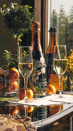 Limited edition giclee print on Canvas of Eric Christensen's original watercolor Sparkling Proposal featuring Perrier-Jouet and Veuve Clicquot champagnes. Art Du Vin, Champagne Moet, Champagne Brands, Champagne Party, Perrier Jouet, Plakat Design, Festa Party, Wine Art, Sparkling Wine