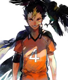 """This is Yuu Nishinoya from Haikyuu. In his very first cameo, I thought he would be a cool, tall and deep-voiced character who everyone looked up to, but he ended being a 159 cm (that's like 5'2"""") Libero, called """"Karasuno's Guardian Deity"""". And I loved every second of him after that :D"""