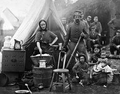 A Confederate camp.