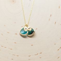 Birthstone Necklace Initial Necklace Birthstone Jewelry
