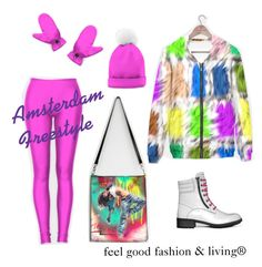 """RUNWAY TRENDS 2017 WOMEN -  Youth Feel Good Fashion & Living®    www.marijkeverkerkdesign.nl    Amsterdam freestyle Hoodie, Hot Pink Leggings, White Military Boots, Cosmopolitan Hand Bag, Hot Pink Pom Pom Beanie Hat and Hot Pink Gloves"""