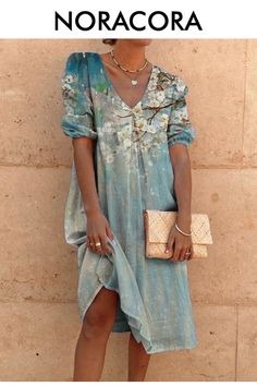 Half Sleeve Dresses, Half Sleeves, Types Of Sleeves, Dresses With Sleeves, Polka Dot Summer Dresses, Floryday Vestidos, Plus Size Chic, V Neck Midi Dress, Plus Size Vintage