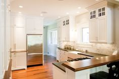 Wood, Black Counter, Cabinets, Wood Floor
