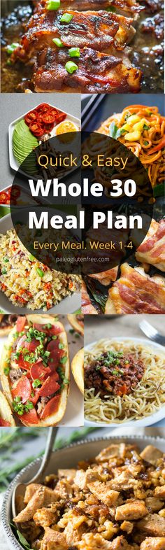 A Whole30 meal plan that's quick and healthy! Whole30 recipes just for you. Whole30 meal planning. Whole30 meal prep. Healthy paleo meals. Healthy Whole30 recipes. Easy Whole30 recipes. Best paleo shopping guide.