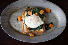 Get the Sautéed Kale, Roasted Sweet Potato and Poached Egg Holiday Toast recipe from Cristina Sciarra via Sauces, Perfect Poached Eggs, Sweet Potato And Apple, Sauteed Kale, Egg Dish, Roasted Sweet Potatoes, Egg Recipes, Kale Recipes, Dinner Recipes