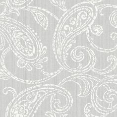 Paisley Park Wallpaper in Silver design by Stacy Garcia for York Wallcoverings