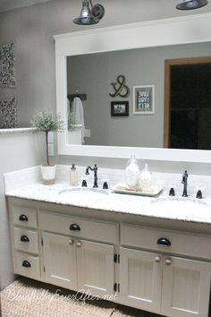 Farmhouse bathroom remodel,  ---so pretty.  http://www.blissfullyeverafter.net/2013/08/23/farmhouse-master-bathroom-reveal/