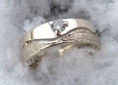 Alliance démontable en or blanc avec diamant