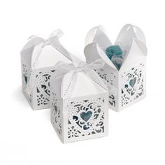White Lacy Heart Favor Boxes | Invitations By Dawn