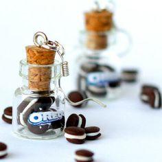 Miniature food - Oreo earrings miniature kawaii bottle Polymer clay jar miniature sweet dessert hoop