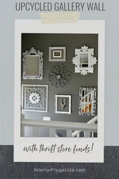 A Budget Glitz And Glam Gallery Wall Idea with upcycled thrift store mirrors and frames along with tips on how to hang gallery art the easy no measure way by Interior Frugalista #contemporarygallerywall #diygallerywall #entrywaygallerywall #vintagewallart #budgetgallerywall #glamwalldecor Thrift Store Finds, Glitz And Glam, Vintage Wall Art, Seasonal Decor, Dollar Stores, Mirrors, Thrifting, Repurposed, Upcycle
