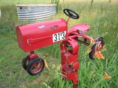 Old Red Tractor Mailbox