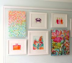 art walls made of framed pegboard that is mounted on the wall.  Then the art can be hung on the pegboard and moved around easily when new acquisitions arrive.