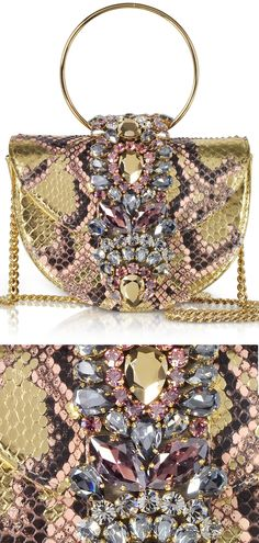 5d61300226 Snake Python Print Bag. Snake Clutch Bags. Animal Print Accessories. Gold  and Pink
