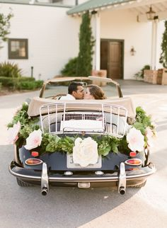 The getaway car: http://www.stylemepretty.com/2014/12/31/modern-glam-wedding-inspiration/   Photography: Chelsey Boatwright - http://chelseyboatwright.com/