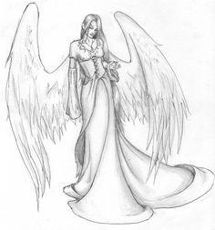 Vampire Drawings, Dark Drawings, Pencil Art Drawings, Art Drawings Sketches, Drawing Drawing, Drawing Ideas, Angel Wings Drawing, Angel Sketch, Arte Van Gogh