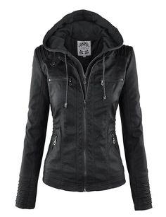 LL WJC663 Womens Removable Hoodie Motorcyle Jacket XL BLACK  ❤❤❤ Bought it in black, and will be buying it in brown!