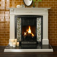 To recreate the Victorian look, use these amazing tiles from our V&A range. The V&A Berries tile look perfect at either side of a fireplace and by