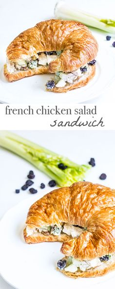 French Chicken Salad Sandwich made with leftover roast chicken and a bakery croissant! Recipe via MonPetitFour.com