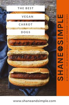 This is the BEST Vegan Carrot Dog recipe. A delicious plant-based alternative to regular hot dogs! Vegan Bbq Recipes, Hot Dog Recipes, Carrot Recipes, Delicious Vegan Recipes, Vegan Foods, Vegan Dishes, Grilling Recipes, Gourmet Recipes, Whole Food Recipes