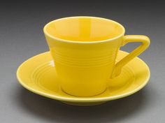 Yellow 'Harlequin' Teacup and Saucer | LACMA Collections