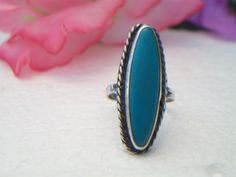 Vintage Oblong Turquoise Ring Silver Rope Southwestern #alexamigos #VintageJewelry