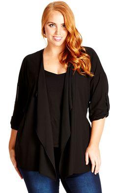 City Chic Roll Sleeve Jacket - Women's Plus Size Fashion City Chic - City Chic Your Leading Plus Size Fashion Destination #citychic #citychiconline #newarrivals #plussize #plusfashion #festival #festivalfashion