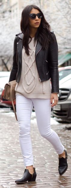 Chic Cable Knit Sweater with Black Moto Jacket and Skinny Jeans in White maybe add some boots