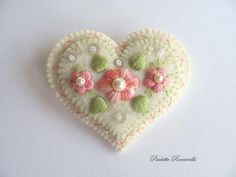 Felt Heart Pin / Felt Brooch by Beedeebabee on Etsy, $26.00