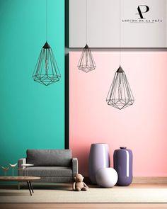 Arturo de la Peña | Arquitectos Interior design, colors, pink blue grey, light, Interiores Design, Ceiling Lights, Projects, Pink, Home Decor, Architects, Log Projects, Blue Prints, Decoration Home