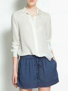 a30a593456 Rivets Peter Pan Collar Blouse Studded Collar, Zara Shirt, Quirky Fashion,  Shirt Blouses