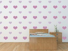 This lovely hearts would add a lovely color to your girls room!
