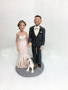 Wedding Cake Topper  Custom Bride and Groom by BarbarasClayMagic