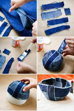 DIY Bowl with Recyled Jeans | HelloGlow.co