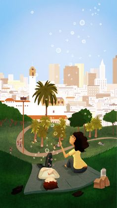 Dolores Park in cartoon form by Nidhi Chanani