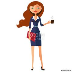 Vector: Business carroty young woman with a cup of tea and teapot vector flat cartoon illustration