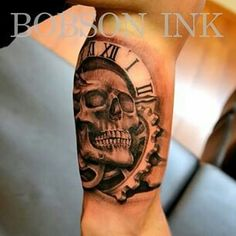 Skull combined with some clock mechanism.#bobsonink#tattoo#ink#art#skull#clock#mechanism#blackandgrey#inked Bobson Ink, Tilburg, Netherlands...