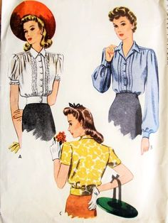 1940s Lovely Blouses Pattern McCALL 4619 Three WW II War Time Versions Overblouse or Tuck In Styles Bust 34 Vintage Sewing Pattern