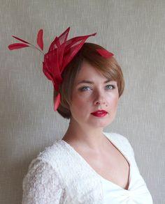 Scarlet Red Sinamay Fascinator Wedding by RUBINAMillinery on Etsy