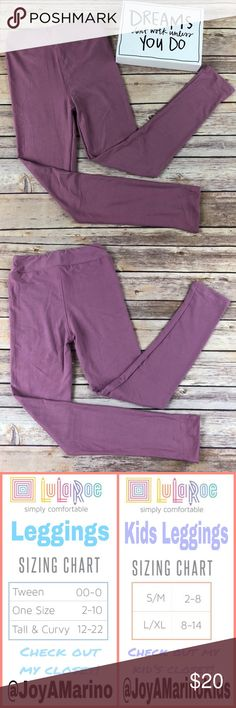 LuLaRoe Solid Mauve Leggings size L/XL LuLaRoe Solid Mauve leggings are buttery soft and so comfortable you'll feel like you have nothing on!!  These are brand new. 92% polyester 8% spandex. Girls size L/XL LuLaRoe Bottoms Leggings