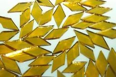 GOLD WATER MIRROR WATERGLASS handcut stained glass mosaic tiles #31