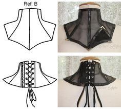 paper patterns Here i offer a 2 sets including patterns to do lace or fabric neck collar with back zipper and eyelets lacing. 1 set for 9 pieces pattern Ref A 1 set for 10 pieces patter Motif Corset, Corset Pattern, Collar Pattern, Jacket Pattern, Neck Pattern, Diy Fashion, Fashion Design, Neck Piece, Eyelet Lace