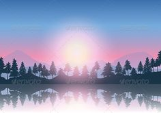 Mountain landscape background.  Files included ai (version ten and CS5), eps (version ten) and high resolution JPEG
