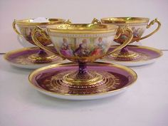 Set of 3 Dresden hand painted cups and saucers,