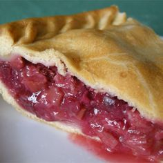 "Fresh Rhubarb Pie | ""Delicious-sweet tart with only the minimum amount of sugar."""