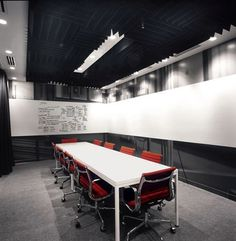 Meeting room at Google. White board 3/4 of the room.