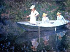 In the Norvegienne Boat at Giverny 1887 Claude Monet